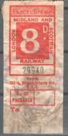 GB Railway Parcel Post. London-Midland And Scotish Railway 8d.Used. Trains/Railway S?Eisenbahnmarken - Eisenbahnen