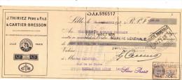 Lettre Change 1933 THIRIEZ CARTIER BRESSON Fil à Coudre LILLE Nord Pour Pouilly Sur Loire Nièvre - Timbre Fiscal - Lettres De Change