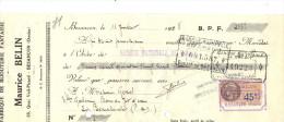 Lettre Change 1928 BELIN Bijouterie Fantaisie BESANCON Doubs Pour La Bourboule 63 - Timbre  Fiscal - Lettres De Change