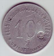Monnaie De Nécessité - LOIRE 42 - Unieux - Ets Jacob Holtzer 10c - Contremarque Cloche Et Croissant - Monétaires / De Nécessité