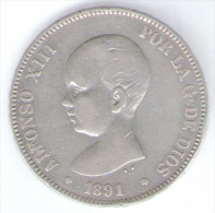 SPAGNA 5 PESETAS 1891 ALFONSO XIII AG SILVER - [ 1] …-1931 : Reino