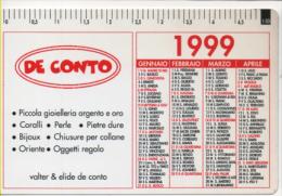 Alt465 Calendario Tascabile, Pocket Calendar, Calendrier De Poche, 1999, Gioielli Argento Oro Gold Silver Bijoux Collana - Calendari