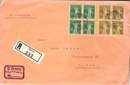 R-Brief Ab  HUTTWIL 29,XI,28 Nach Olten Mit Zu 169+171 Mi 198+201 In Blocks (Zu CHF 43.00 Lose) - Schweiz