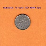 NETHERLANDS    10  CENTS  1951   (KM # 182) - [ 3] 1815-… : Kingdom Of The Netherlands