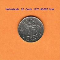 NETHERLANDS    25  CENTS  1970   (KM # 183) - [ 3] 1815-… : Kingdom Of The Netherlands