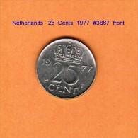 NETHERLANDS    25  CENTS  1977   (KM # 183) - [ 3] 1815-… : Kingdom Of The Netherlands