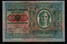 Autriche Austria Billet 100 Kronen Deutschosterreich 1912 - Austria