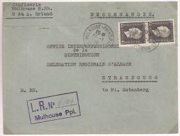 Pa206 - Recommandé Provisoire MULHOUSE PRINCIPAL - 1946 - Timbre Type DULAC - Haut Rhin - - Poststempel (Briefe)