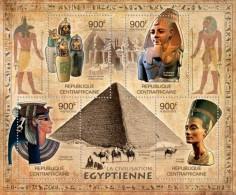 CENTRAL AFRICA 2012 CIVILIZATION OF EGYPT PYRAMIDS NEFERTITI CAMEL S/S MNH CA12101A - Célébrités