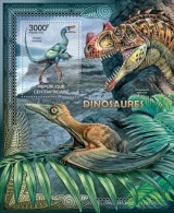 DELUXE IMPERF  CENTRAL AFRICA 2012 DINOSAURS S/S MNH CA12213B - Stamps