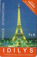 CARTE-PREPAYEE-IDILYS-7.5 €-PROMO-TOUR EIFFEL-UTILISE-TBE - France