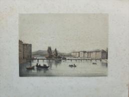 Jolie Gravure Ancienne - Paysage Avec Bateaux Naviguant Sur Le Fleuve - Prenten & Gravure
