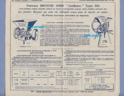 Publicité Ancienne - CHERBOURG - Ets SIMON Frères - Nouveaux Broyeurs Légumes Fruits - 1933 - Agriculture Cidre - Publicités