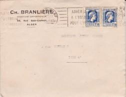 ALGERIE - LETTRE AFFRANCHIE TIMBRES N° 214 PAIRE CAD ALGER 1946 - Timbres