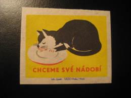 CZECHOSLOVAKIA CZECH Cat Cats Pet Pets Fauna Animal Poster Stamp Label Vignette Cinderella - Domestic Cats