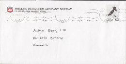 Norway PHILLIPS PETROLEUM COMPANY (PP 66) STAVANGER 1987 Cover Brief To Denmark Bird Vogel Oiseau - Briefe U. Dokumente