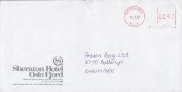 Norway SHERATON HOTEL Oslo Fjord SANDVIKA 1987 Meter Stamp Cover Brief To Denmark - Briefe U. Dokumente