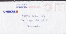Norway UNOCAL 76, SANDNESS 1986 Meter Stamp Cover Brief To Denmark - Briefe U. Dokumente