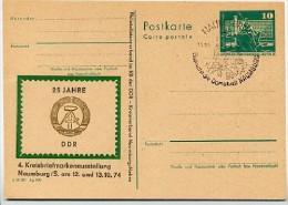 DDR P79 C15 Postkarte PRIVATER ZUDRUCK Ausstellung Naumburg Sost. Dom 1974 - Exposiciones Filatélicas