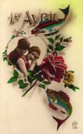 1er Avril - Couple - Poisons -  Fleurs - Roses  - Cek  1114 - 1er Avril - Poisson D'avril