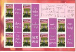 FEUILLE  F 3599A J'AIME PARIS En 10 LANGUES  NEUFS XX 2007 - Gepersonaliseerde Postzegels