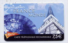 France--KERTEL -- Télécarte  Prépayée-- France Monde-- 7.5€ Rechargeable --Tour Eiffel - Autres Prépayées
