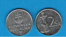 ESLOVAQUIA -  2 Koruna 1993  KM13 - Eslovaquia