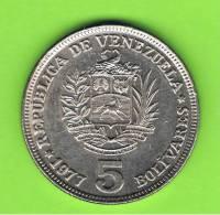 VENEZUELA -  5 Bolivar  1977   KM44 - Venezuela
