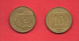 ISRAEL, 1985-1996,  Circulated Coin,10 Agorot, Alu Bronze, Km158,  C1707 - Israel