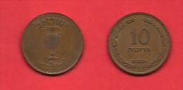ISRAEL, 1949,  Circulated Coin, 10 Prutah, Km11,  C1709 - Israel