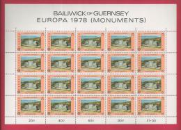 GUERNSEY, 1978,  2 Mint Full Sheets Stamps OfEuropa Monuments (each 20 Stamps) Michel Nrs. 161-162 F3333CD - Guernsey