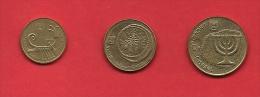 ISRAEL, 1985-1995,  Circulated Coin, 1+5+10 Agorot, Alu Bronze KM156+157+158,  C1706 - Israel