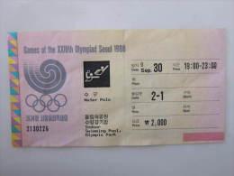 1988 Seoul Olympic Games Ticket, Water Polo, Indoor Swimming Pool, Olympic Park,used - Toegangskaarten