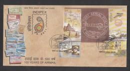 INDIA, 2011,  FDC,  SET 4v Complete, 100 Years  Airmail , Allahabad-Naini Flight, Mumbai Cancellation - FDC