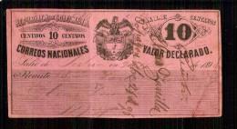1886 República  De Colombia Correos Nacionales Entero Postal Valor Declarado 10c. SPECIALIZED-CUBIERTAS - Letras De Cambio