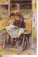 2 Enfants Lisant Le Journal Sur Un Banc - Autres