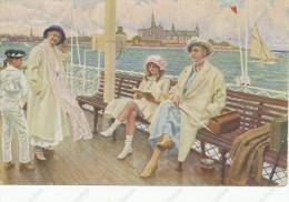Paul Fischer Pinx , Sommerdag Paa Fargen, On The Ferryboat, A Bord, Vintage Old  Postcard - Künstlerkarten