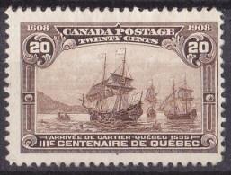 Canada 1908 Quebec Tercentenary 20c Brown MH* SG 195, SC 103 - Nuovi