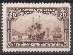 Canada 1908 Quebec Tercentenary 20c Brown MH* SG 195, SC 103 - 1903-1908 Regering Van Edward VII