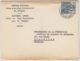 20594 United Nations Office Of The High Commissioner For Refugees, Enveloppe De Genève 4.1.55 Vers La FGTB En Belgique - UNO