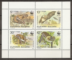ANIMALES - BULGARIA 1989 - Yvert #3231/34 - MNH ** - Murciélagos