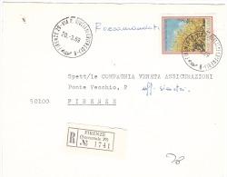 1969 £180 FLORA SU RACCOMANDATA ANN. FIRENZE 29 VIA R.GIULIANI(RIFREDI) - 6. 1946-.. Repubblica