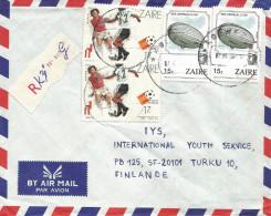 DR Congo Zaire 1987 Kolwezi Code Letter A World Cup Football Soccer Spain 1Z Zeppelin Registered Cover - Zeppelins