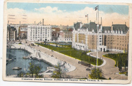 CANADA -VICOTIRA,BRITISH COLUMBIA , BELMONT BUILDING AND EMPRESS HOTEL, VICOTIRA B.C.- -traveled 1920 Old Postcard - Victoria