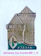 Set Russia And Soviet Towns 6: Suzdal - Kremlin - Tower / Soviet Badge USSR _068_1_14_t3927 - Cities