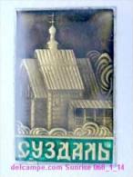 Set Russia And Soviet Towns 6: Suzdal - Kremlin - Wooden Church / Soviet Badge USSR _068_1_14_t3896 - Cities