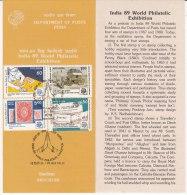 Stamped Information On World Philatelic Exhibition, Philately, Shell, Coach, Jounalism, Penny Black 1840, India 1989 - Philatelic Exhibitions