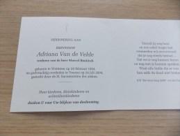 Doodsprentje Adriana Van De Velde Wetteren 28/2/1924 Veurne 24/7/2004 ( Marcel Bontinck) - Religion &  Esoterik
