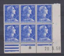 France // Coin Daté // 20 Francs Bleu // N 1011B  I  //  NEUFS **  //  20/03/1958 - Dated Corners