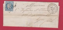 FACTURE //  Villefranche Sur Saone //  Pour Lyon  //  25 Mars 1872 - Marcophilie (Lettres)